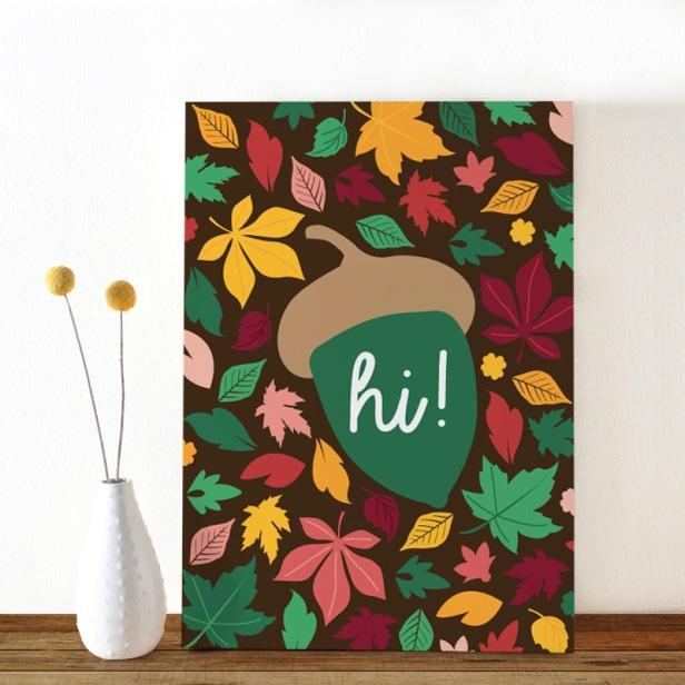 Colors-Herfst-eikeltje-ansichtkaart-Oktoberdots