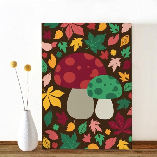 Colors-Herfst-paddenstoel-ansichtkaart-Oktoberdots
