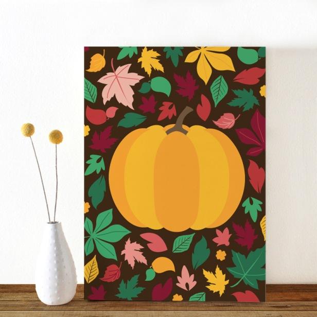 Colors-Herfst-pompoen-ansichtkaart-Oktoberdots